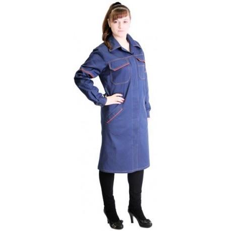 халат рабочий женский синий тк. саржа 100% хб